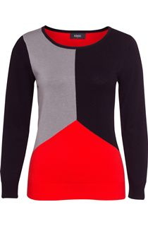 Colour block Long Sleeve Knit Top - Multi