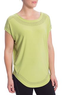 Loose Fit Embellished Stretch Top - Green