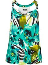 Bold Floral Print Sleeveless Cowl Neck Jersey Top