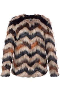 Faux Fur Chevron Coat