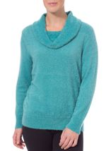 Anna Rose Cowl Neck Feather Knit Top