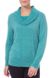 Anna Rose Cowl Neck Feather Knit Top - Green