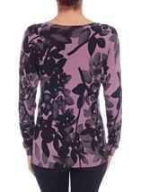 Long Sleeve Floral Print Knit Top