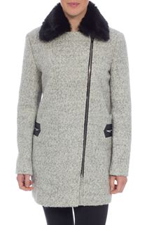 Wool Blend Boucle Asymmetric Coat