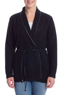 Long Sleeve Faux Leather Trim Cardigan