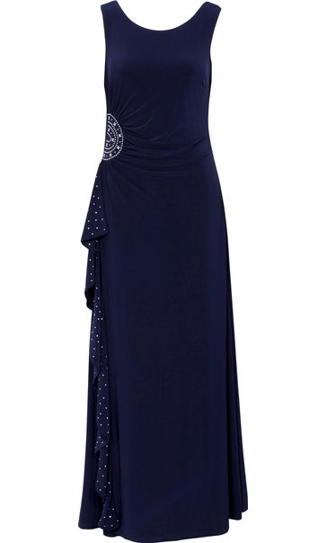 Sleeveless Diamante Trim Waterfall Maxi Dress