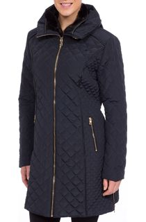 Diamond Quilted Zip Coat - Blue