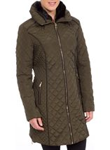 Diamond Quilted Zip Coat