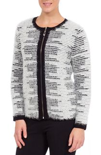 Anna Rose Long Sleeve Feather Knit Zip Cardigan