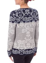 Anna Rose Long Sleeve Jacquard Knit Zip Cardigan