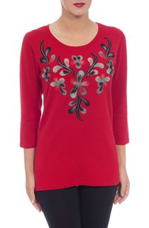 Anna Rose Floral Knit Three Quarter Top - Red