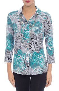 Anna Rose Printed Jersey Blouse With Necklace