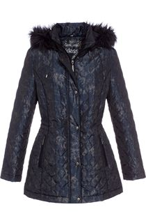 Marbled Look Padded Zip Coat