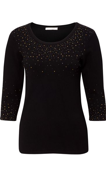 Anna Rose Embellished Round Neck Knit Top