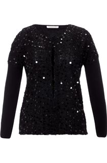 Plain and Eyelash Knit Sequin Cardigan