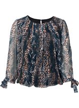 Animal Print Three Quarter Tie Sleeve Top