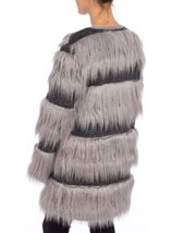 Faux Fur Stripe Coatigan