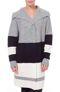 Colour Block Knitted Open Coatigan - Grey/Black/Cream