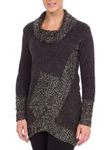 Textured Knit Cowl Neck Tunic