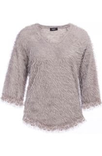 Fringed Feather Knit V Neck Top - Grey