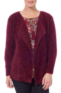 Feather Knit Long Sleeve Open Cardigan - Red