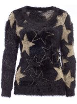 Sparkle Star Eyelash Knit Christmas Top