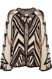 Patterned Knitted Cape Cardigan
