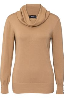 Everyday Cowl Neck Knit Top - Beige