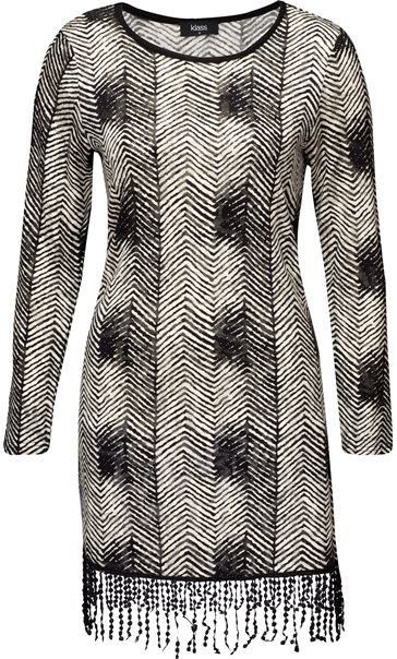 Long Sleeve Monochrome Printed Fringed Tunic