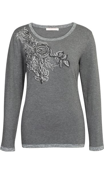 Anna Rose Embellished Long Sleeve Knit Top