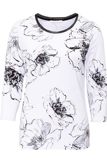 Anna Rose Monochrome Floral Print Top