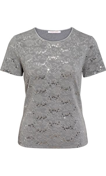 Anna Rose Textured Sparkle Short Sleeve Top