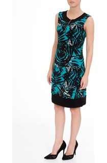 Sleeveless Printed Stretch Midi Dress