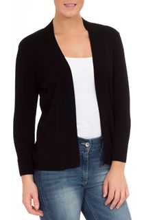 Three Quarter Sleeve Knit Cover Up - Black