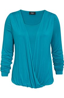 Long Sleeve Draped Jersey Top - Blue