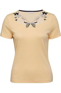 Anna Rose Embroidered Short Sleeve Top - Yellow