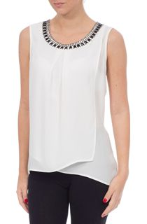 Cross Over Embellished Sleeveless Georgette Top - Ivory