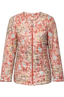 Padded Short Collarless Printed Coat