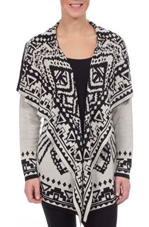 Drape Front Long Sleeve Knit Cardigan