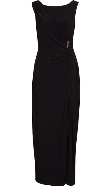 Asymmetric Wrap Sleeveless Maxi Dress
