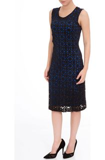 Laser Cut Sleeveless Scuba Dress