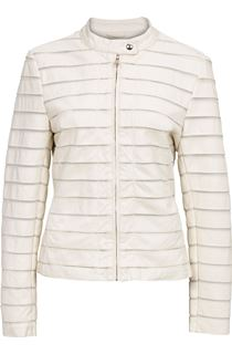 Faux Leather Stripe Jacket - Ivory