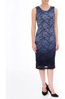 Ombre Lace Fitted Sleeveless Midi Dress - Blue