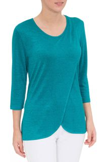 Wrap Over Knit Top - Kingfisher