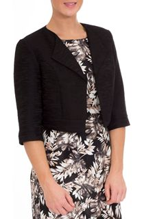 Anna Rose Jacquard Crop Jacket - Black
