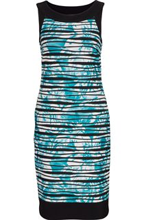 Sleeveless Textured Fitted Stretch Midi Dress