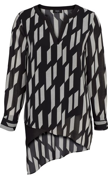 Monochrome Asymmetric Hem Layered Chiffon Top