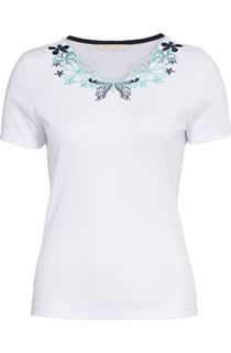 Anna Rose Embroidered Short Sleeve Top - White