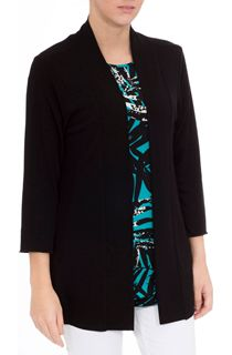 Three Quarter Sleeve Open Knit Cover Up - Black