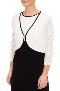 Three Quarter Sleeve Short Lace Jacket - Ivory